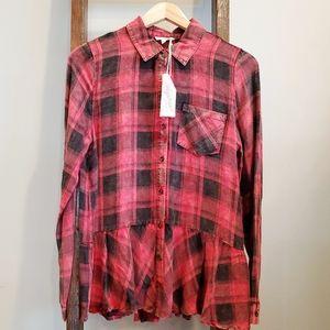NWT Red Washed Plaid Peplum Shirt by Mystree